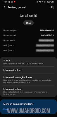 Setelan Tentang Ponsel Android Samsung