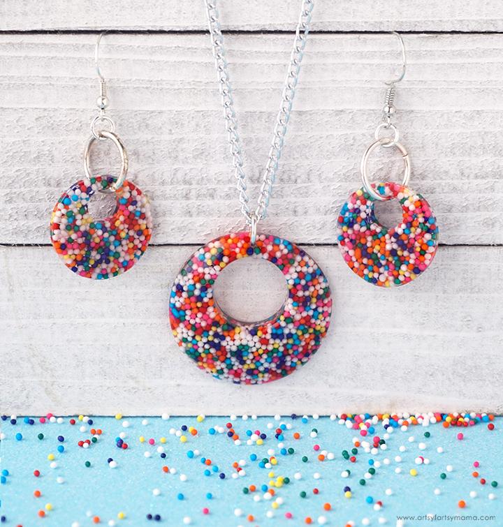 Rainbow Sprinkle Resin Jewelry