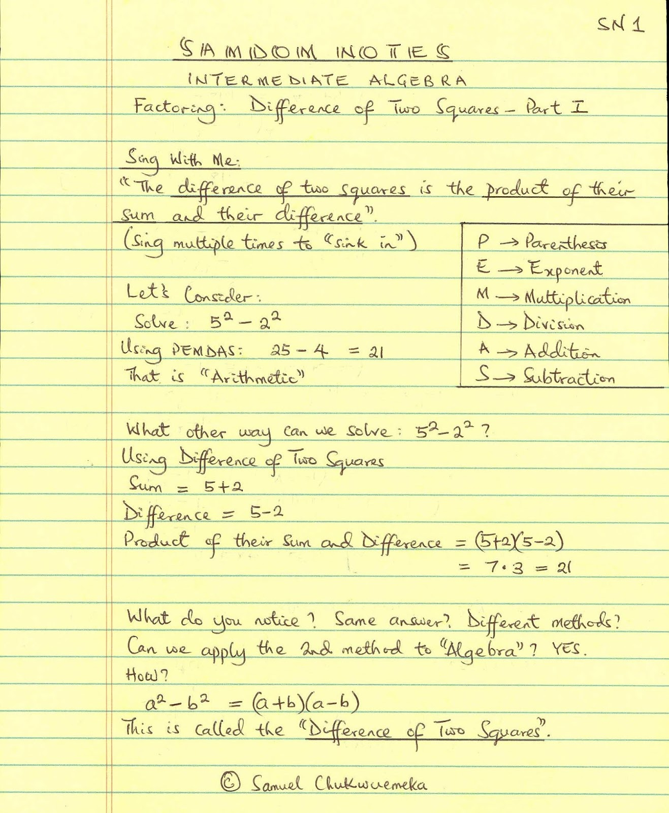 Algebra Made Simple Factoring Difference Of Two