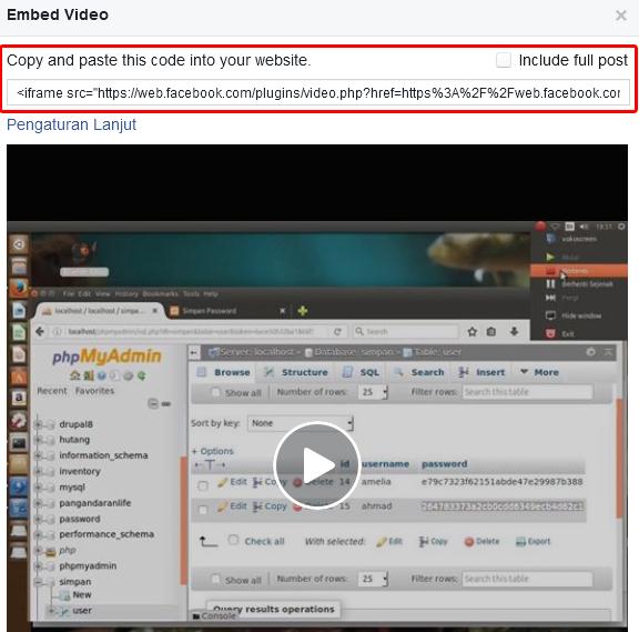 menampilkan kode embed/iframe video
