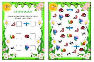 Insectes petit espion jeu autonomie maternelle printemps