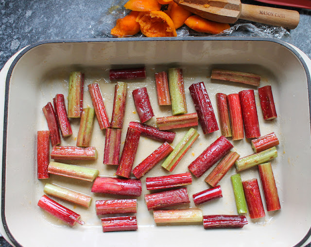 Food Lust People Love: Sweet roasted rhubarb with a hint of orange and vanilla makes the perfect accompaniment to ice cream, cake or yogurt. We also love it topped with double cream or baked in an upside down cake.