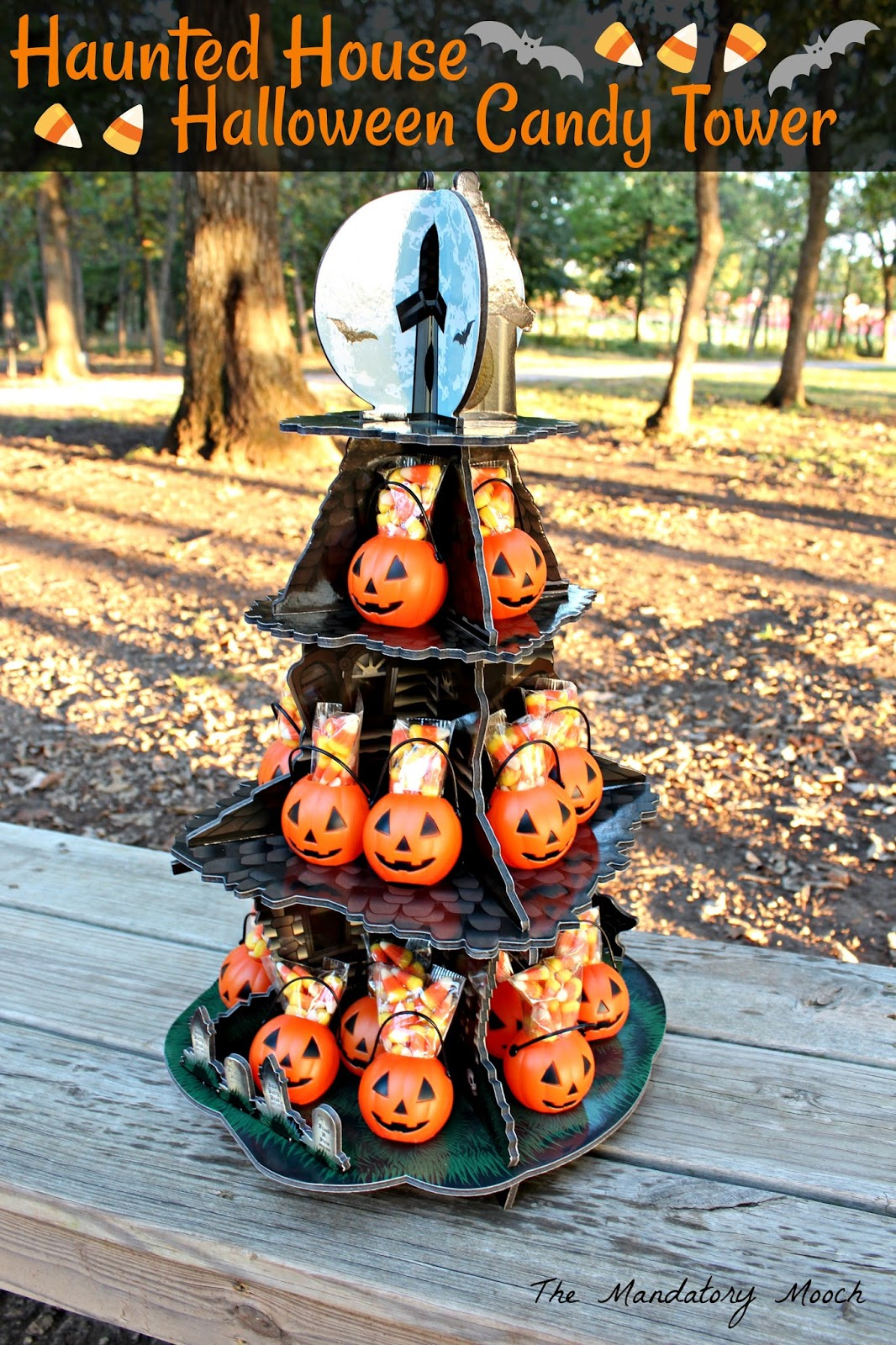 the mandatory mooch: haunted house halloween candy tower