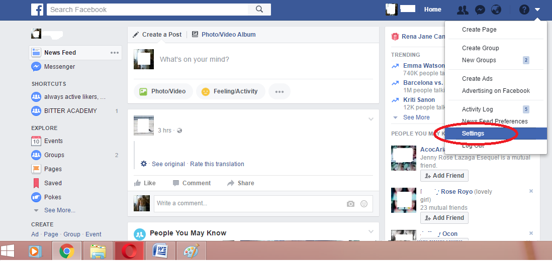 How can I change language setting back to   Facebook