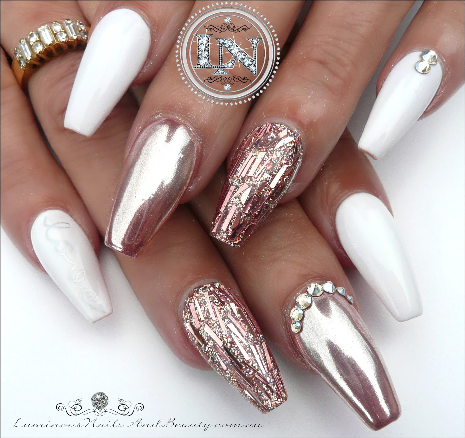 Luminous Nails: Glamorous Rose Gold Chrome & White Gel Nails ...
