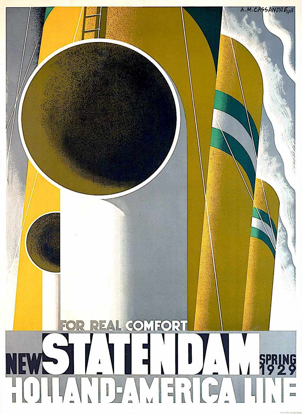 a poster by A.M. Cassandre, New Statendam Holland America Line 1921