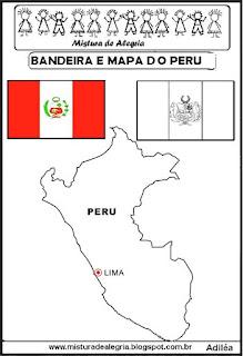 Bandeira e mapa do Peru