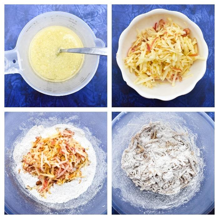 Apple cake - Step 3 - Add wet ingredients to dry ingredients