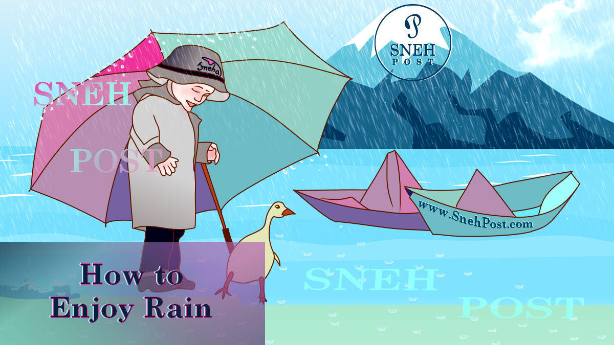 Enjoy rain like a kid in blue jeans, grey raincoat, and rubber boots with umbrella near paper boats and a duck