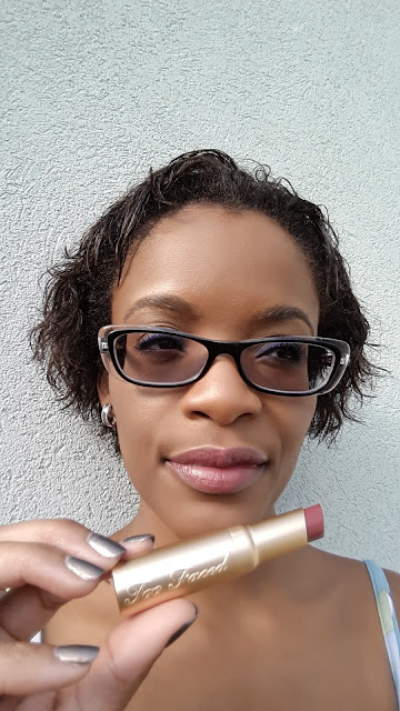 Too Faced La Creme Color Drenched Lipstick 'Pink Chocolate' swatch - www.modenmakeup.com