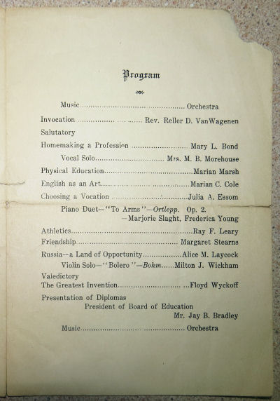 1922 graduation announcement Interlaken New York