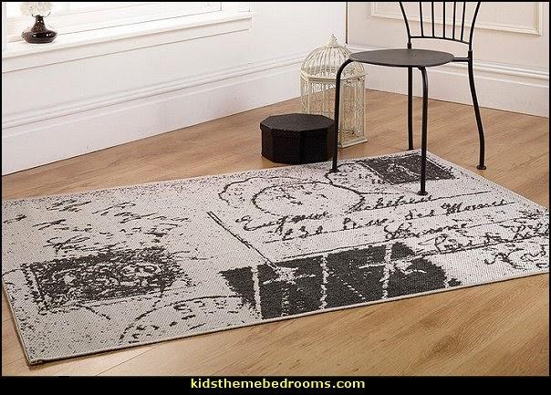 Travel Inspired Guest Room: Letter Design Charcoal Area Rug