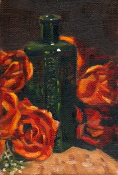 Oil painting of a green antique poison bottle standing amongst a bunch of plastic red roses.
