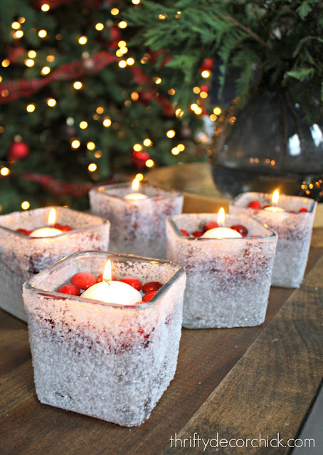 cranberries and floating candles