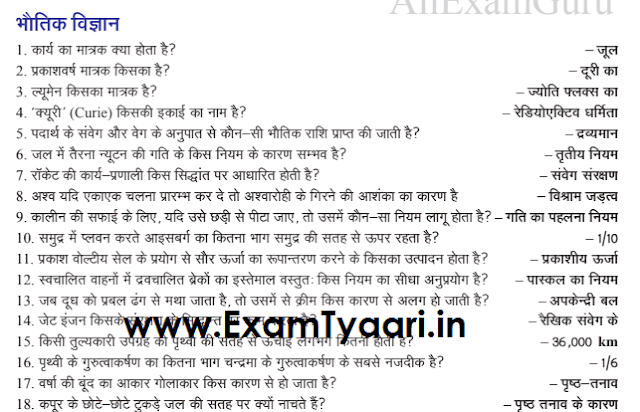 Important 500 General Science One Liner Questions with Answers for SSC CGL and IBPS Exams [Download PDF] - Exam Tyaari