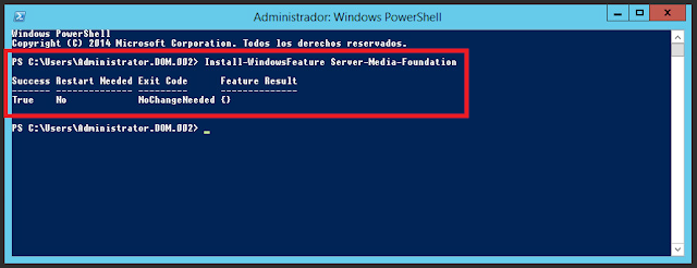 Install-WindowsFeature Server-Media-Foundation
