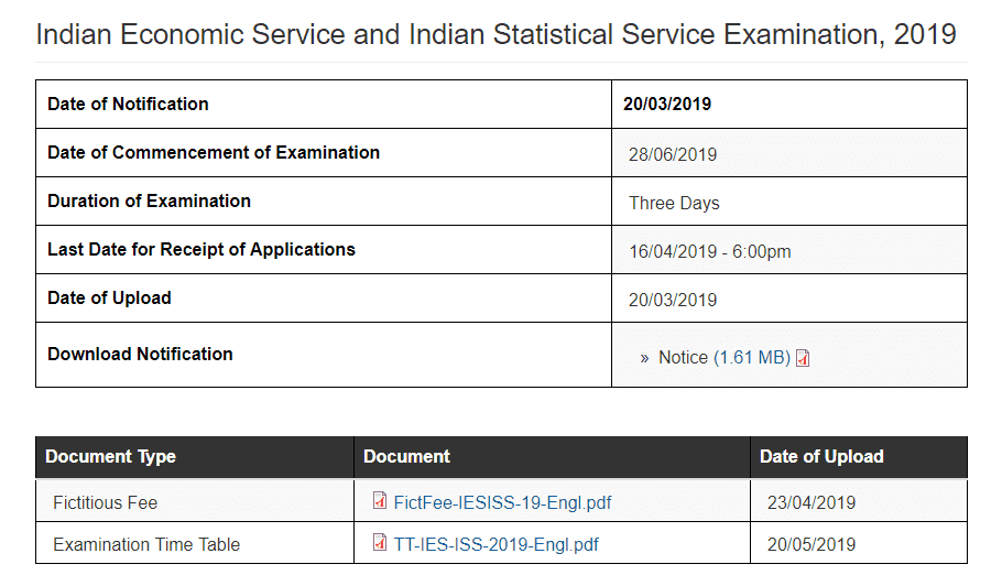 UPSC IES ISS Examination, 2019 time table