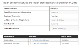 UPSC IES ISS Examination, 2019 time table released - Check Now
