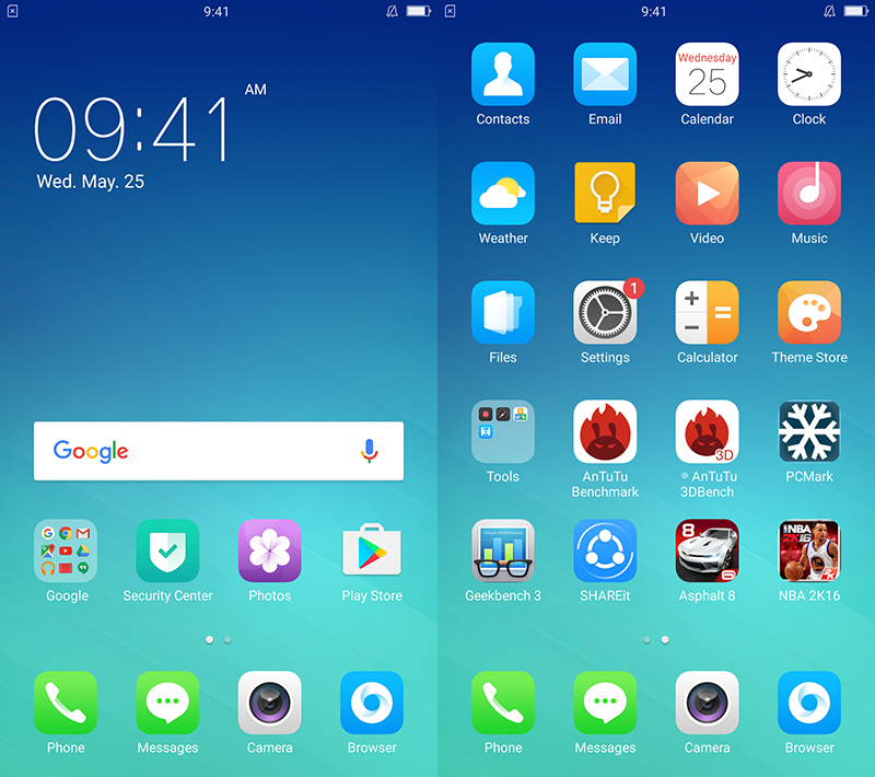 The custom IOS like UI of Oppo