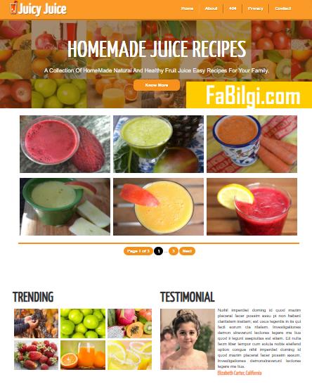 Blogger Yemek Sitesi için Responsive Güzel Tema İndir 2020 - juicyjuice free