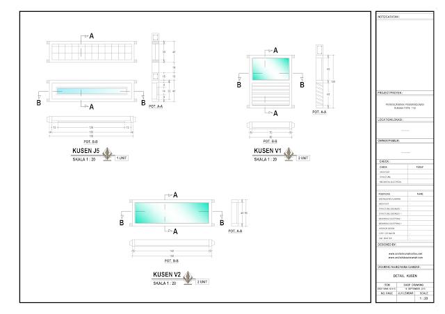 Detail Kusen Rumah Lantai 1- J5,, V1 dan V2