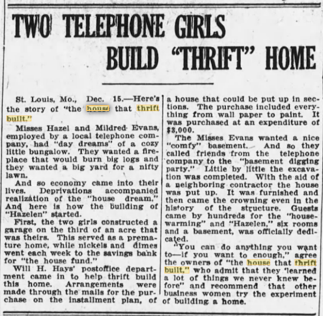 1921 newspaper article about Hazel and Helen Evans and their Sears Elsmore-- The House That Thrift Built--written by newswriter Hazel Blair