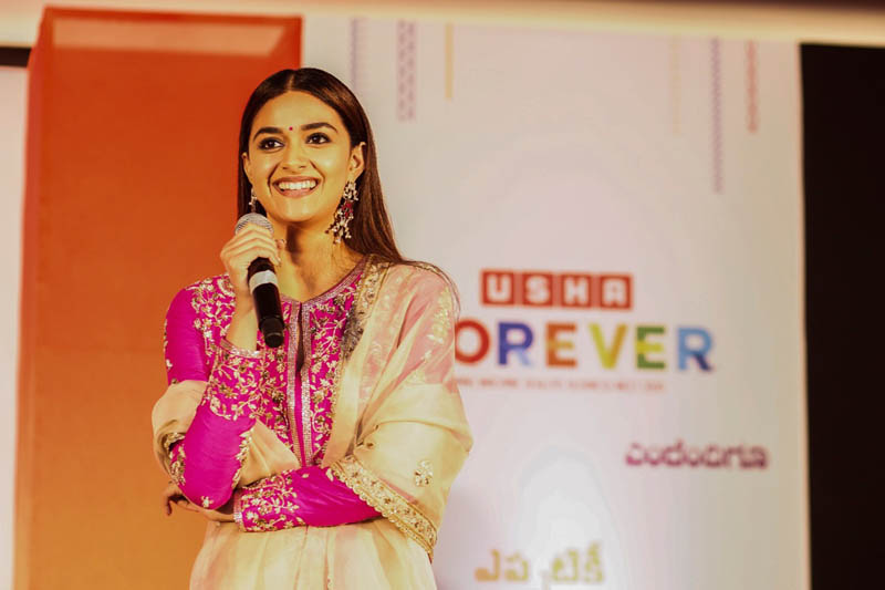 Acclaimed actor and Usha International Brand Ambassador Keerthy Suresh at the launch event of Usha sewing machines