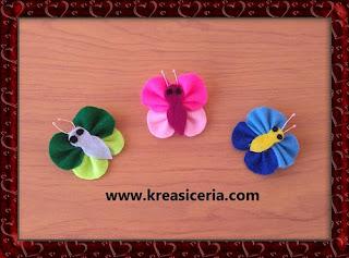 Kreasi Bross Kupu-kupu yang Mudah Dibuat dari Kain Flanel