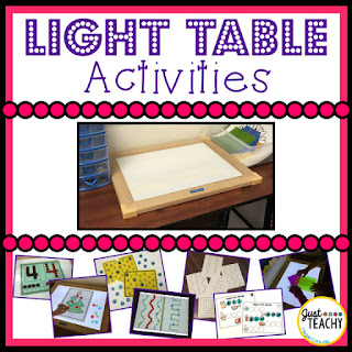 Light Table Activities, www.JustTeachy.com