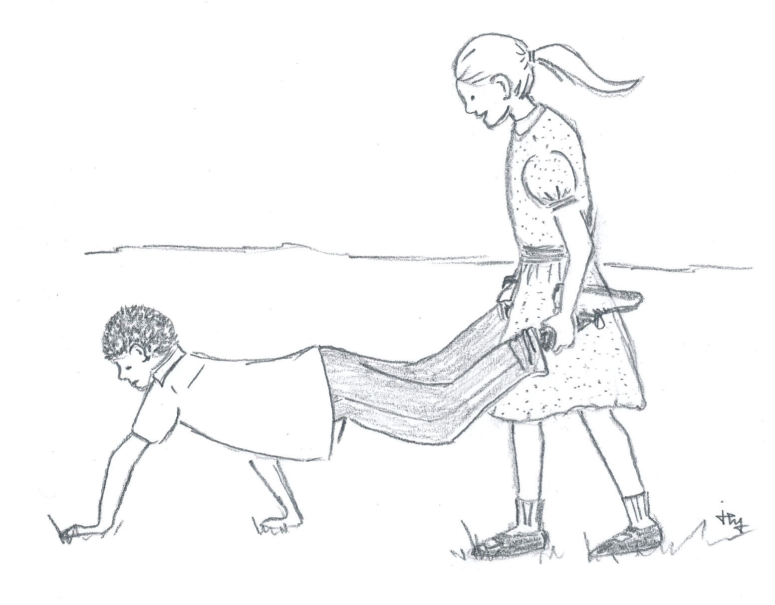 drawing of a boy and girl in a wheelbarrow race for the children's book The Hitchhiker