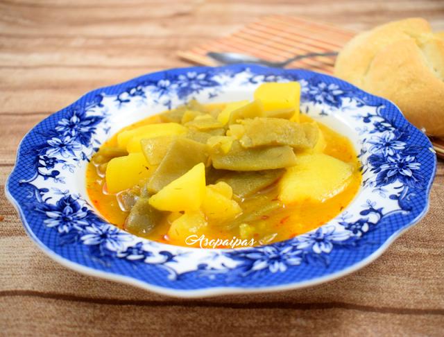 Estofado de Patatas con Judías Verdes. Vídeo Receta