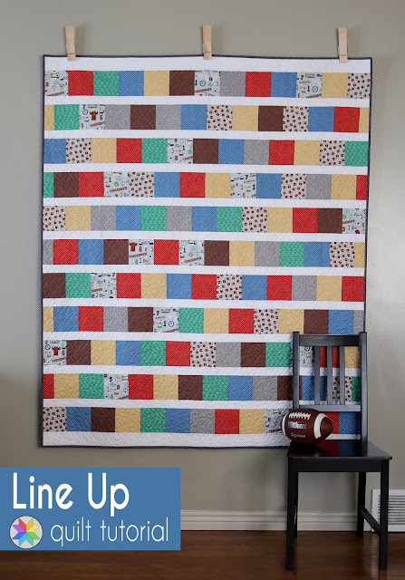 Line Up quilt tutorial by Andy of A Bright Corner - charm pack quilt or layer cake quilt tutorial