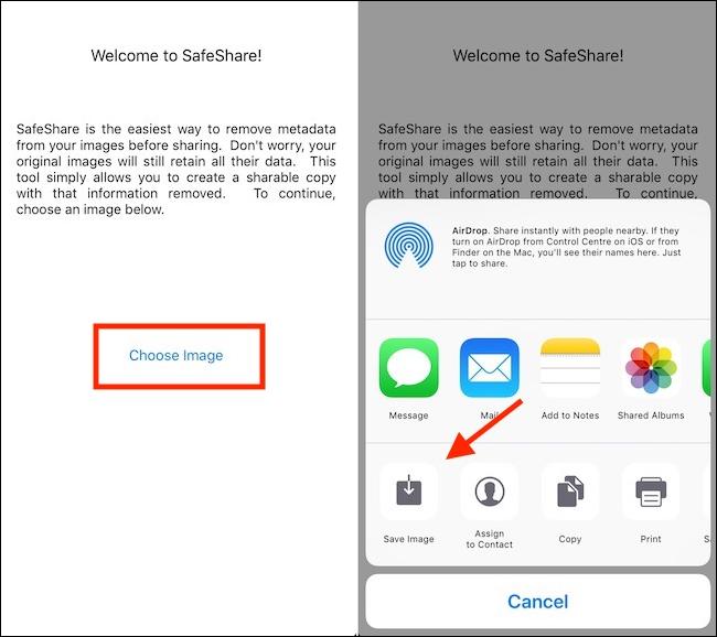 تطبيق SafeShare إزالة البيانات الوصفية وحفظ الصورة