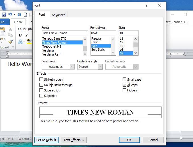 cách đặt font chữ mặc định trong Word