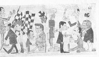 Dibujo con caricaturas de ajedrecistas famosos