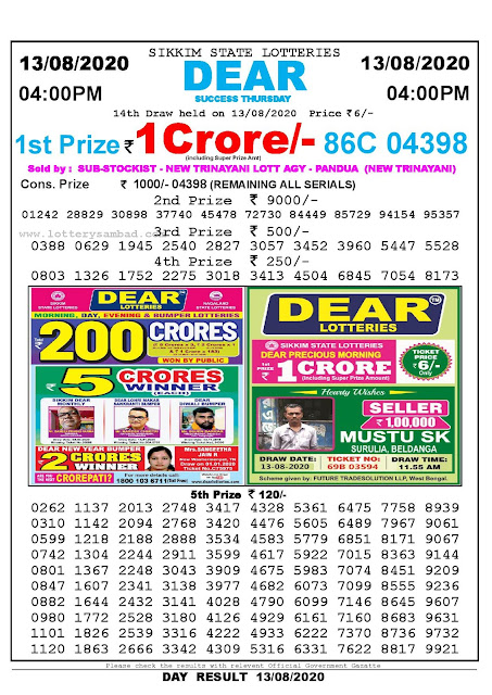 Sikkim State Lotteries 13-08-2020 Lottery Sambad Result 04:00 PM