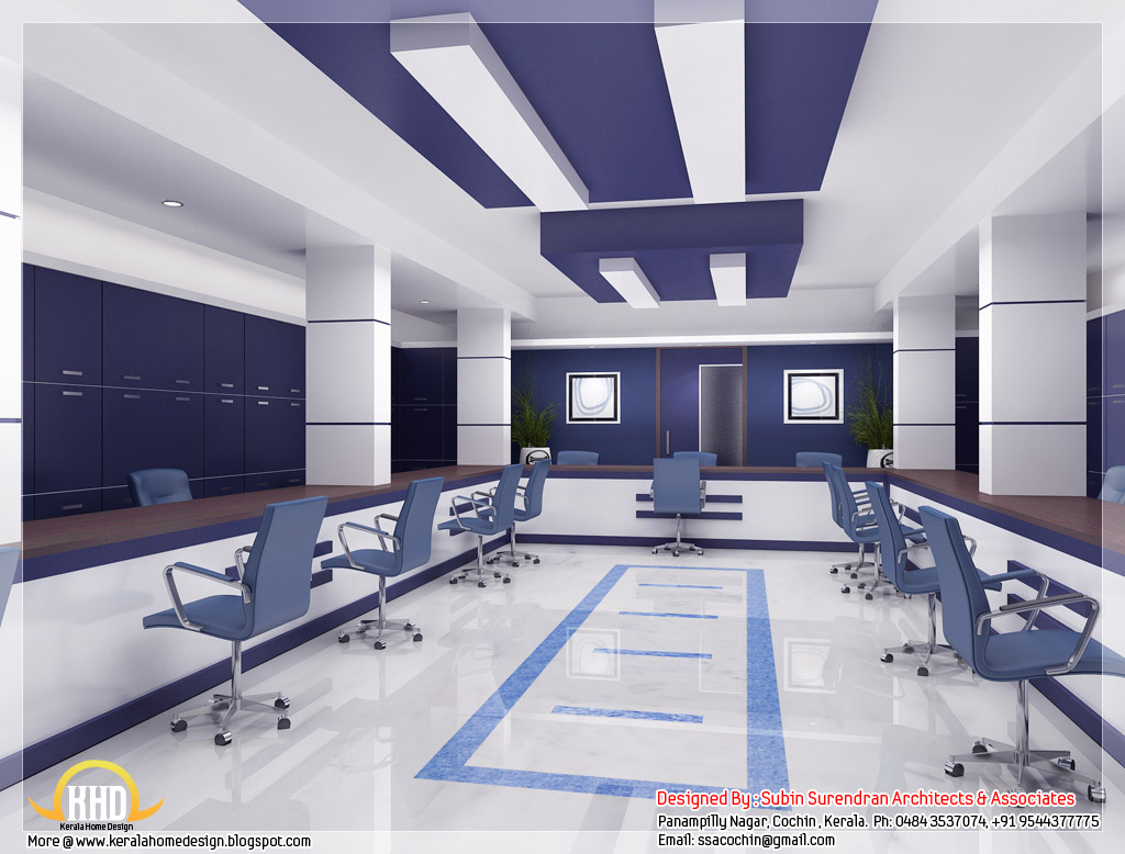 D Home Front Elevation Software : Beautiful d interior office designs kerala home design