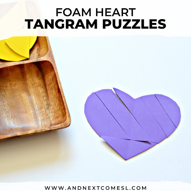 Easy tangram puzzles for kids that you can make yourself for a quick and easy Valentine's Day math activity