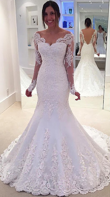 Modest Trumpet/Mermaid Off-the-shoulder Tulle Sweep Train Appliques Lace Long Sleeve Wedding Dresses