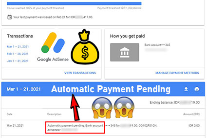 automatic payment pending in google adsense
