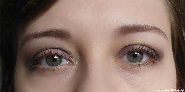 maquillage yeux violet et jaune