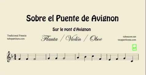 Sobre el Puente de Avignon Partitura de Flauta, Violín, Saxofón Alto, Trompeta, Viola, Oboe, Clarinete, Saxo Tenor, Soprano Sax, Trombón, Fliscorno, chelo, Fagot, Barítono, Bombardino, Trompa o corno, Tuba... Sur le Pont d'Avignon Popular