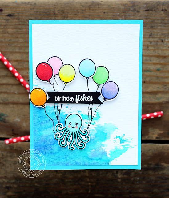 Sunny Studio Stamps: Oceans Of Joy Octopus Birthday Card by Vanessa Menhorn
