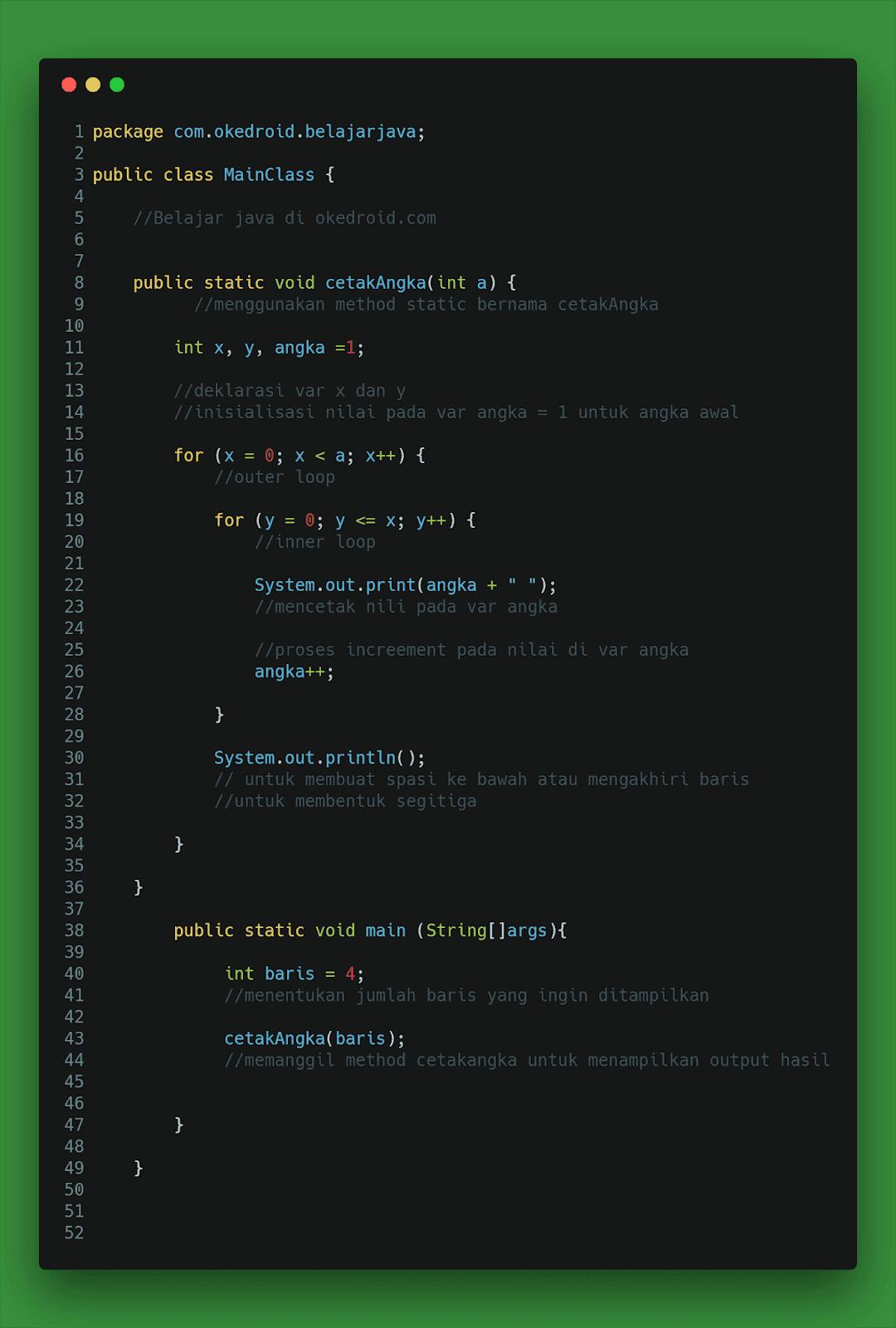 Contoh Code Perulangan Angka Cara Membuat Segitiga Siku-Siku Angka  Java 2