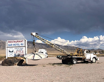 The only tow truck in Rachel, NV is kept busy rescuing UFOs (Source: Palmia Observatory)