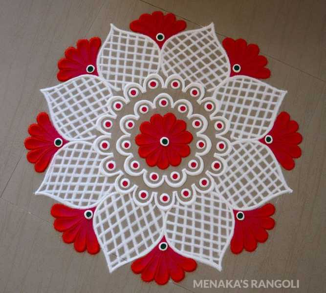 jaali and colourful and very easy rangoli design