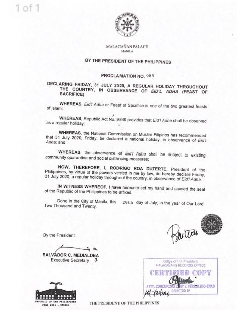 Palace declares July 31, 2020 a regular holiday for Eid'l Adha