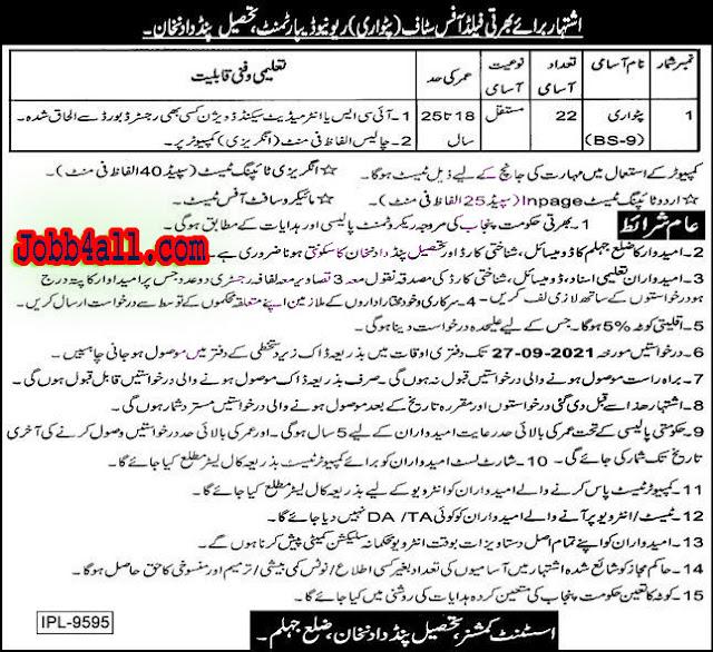 Deputy Commissioner DC Officer Tehsil Pind Dadan Khan Jhelum Latest Jobs 2021 – Deadline – 27-09-2021