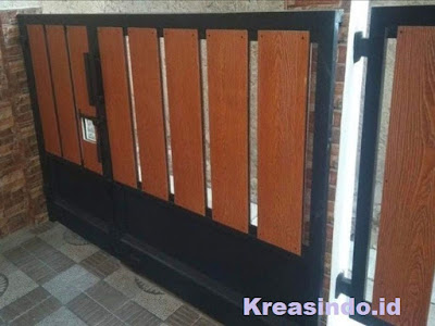 Harga Pintu Pagar Besi Kombinasi Kayu dan Pintu Pagar Besi Kombinasi GRC Model Terbaru