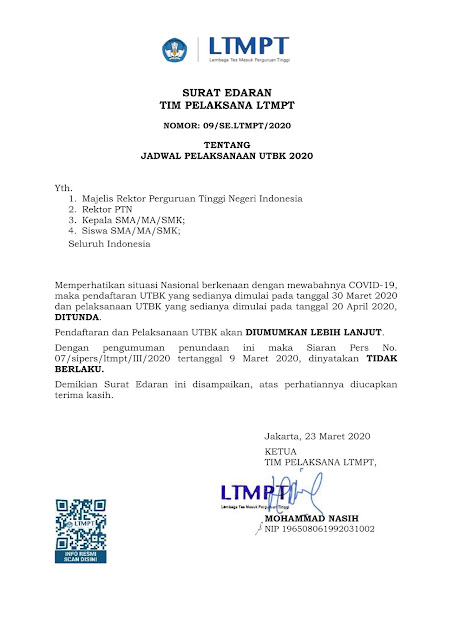 Siaran Pers LTMPT Penundaan Pelaksanaan UTBK Tahun 2020